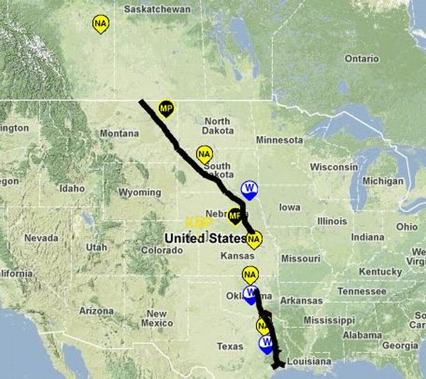 Route Map Of The Keystone XL Pipeline Insteading - Map of keystone colorado