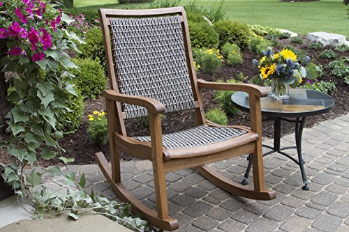 Outdoor Interiors Resin Wicker and Eucalyptus Rocking Chair ...