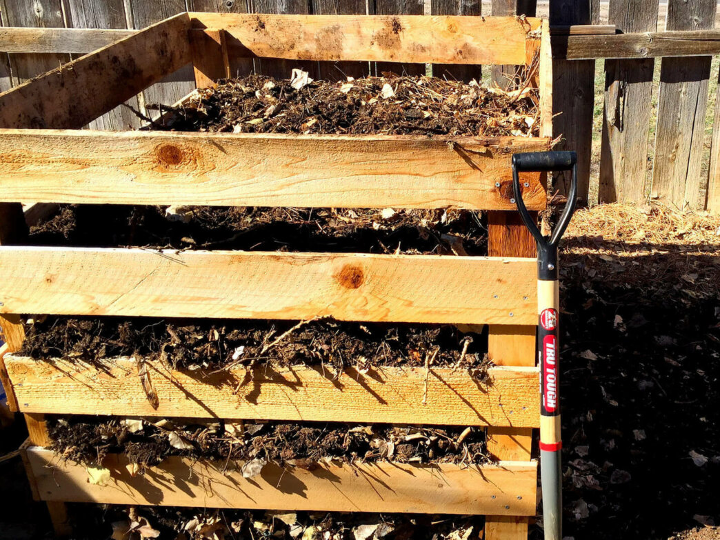 shovel and compost bin