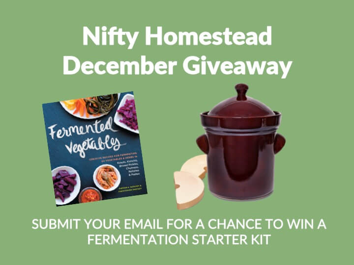 december contest image featuring a fermenting crock and a fermentation book