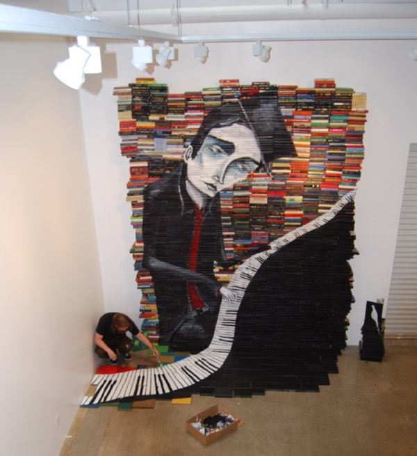 reused books art