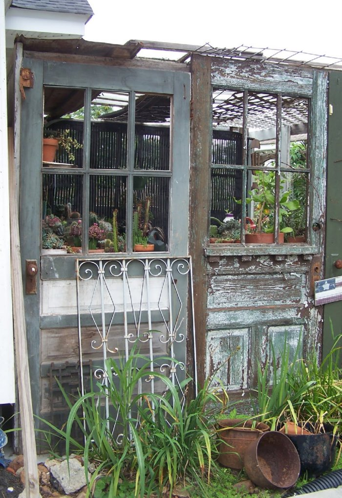 22) Greenhouse From Salvaged Doors & Greenhouses from Old Windows and Doors u2022 Insteading