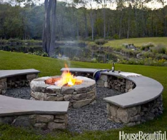 outdoor stone bench