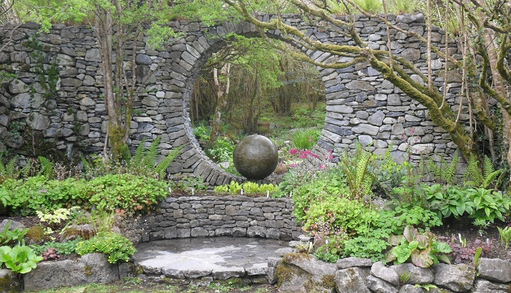 Dry Stone Wall With Moongate Built By Carl Wright In His Garden At Caher Bridge Co Clare