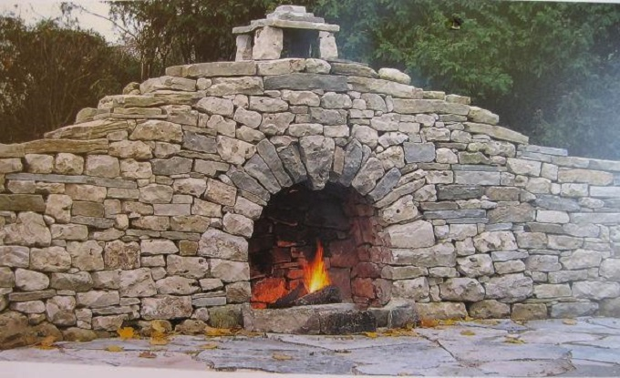Dry Stone Wall With Fireplace