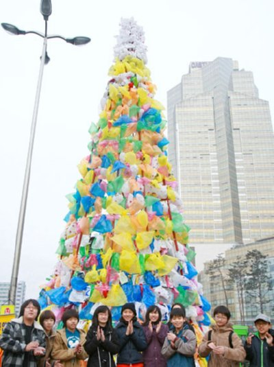 plastic bag christmas tree
