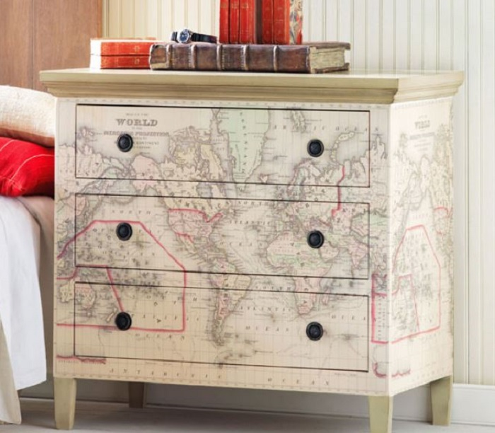 map covered dresser