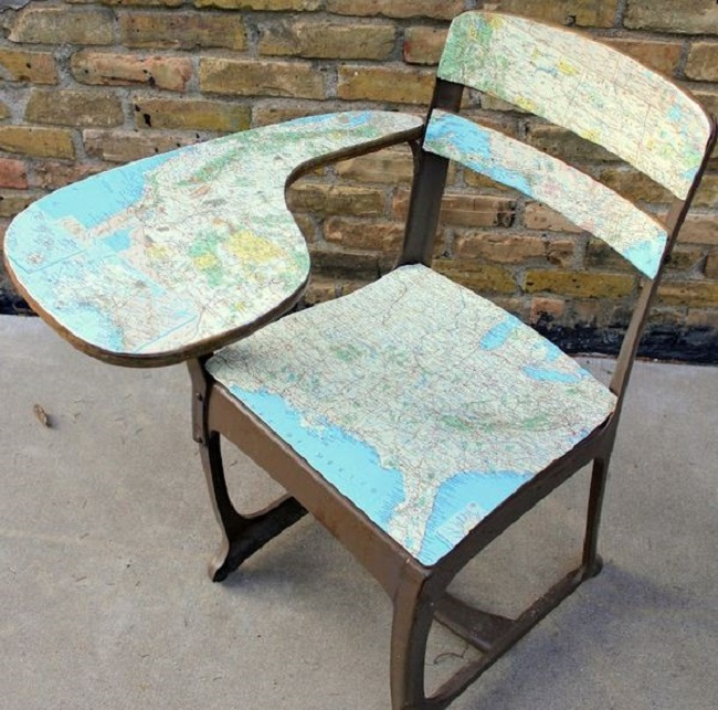 map covered chair