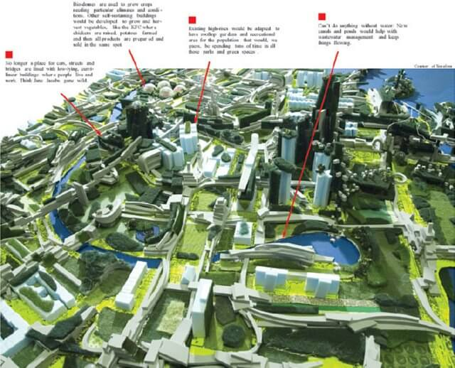 model of what future cities might look like with more urban farming