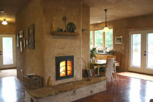 living room heater. masonry heater earth clay plaster bench Masonry Heater  Insteading