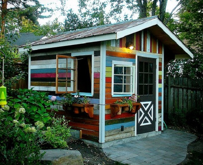 shed made out of reclaimed and recycled wood a little paint gives the shed extra character blogurbanwoodgoodscom - Garden Sheds Oregon